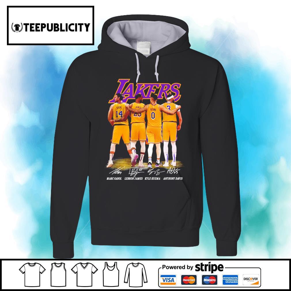 Los Angeles Lakers Marc Gasol Lebron James Kyle Kuzma Anthony Davis signatures s hoodie