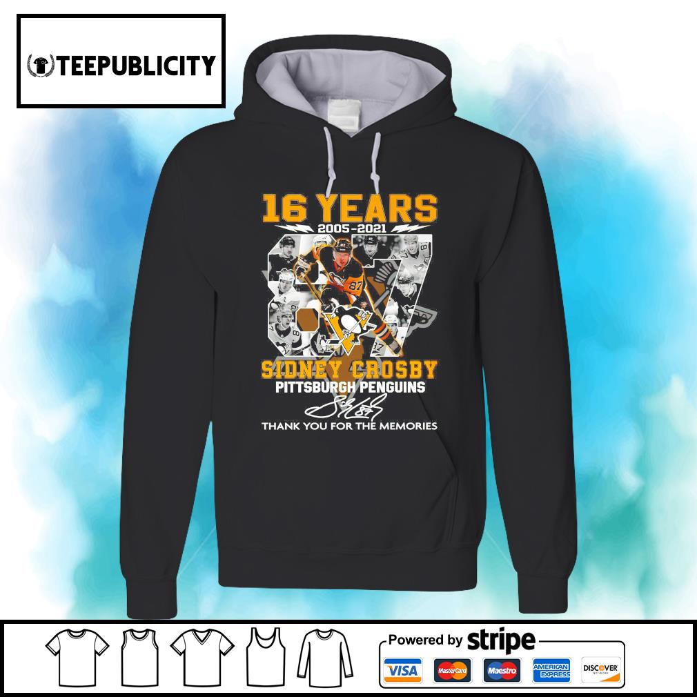 16 years 2005 2021 87 Sidney Crosby Pittsburgh Penguins signature thank you for the memories s hoodie
