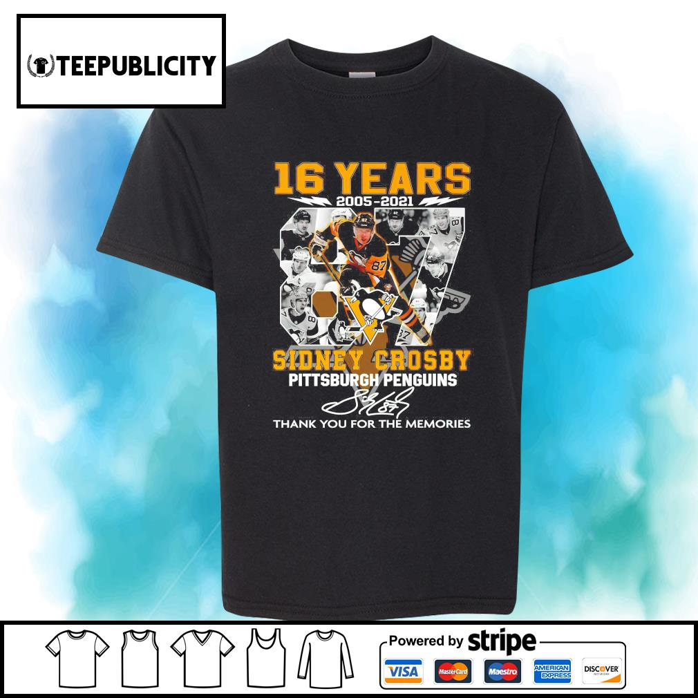 16 years 2005 2021 87 Sidney Crosby Pittsburgh Penguins signature thank you for the memories shirt