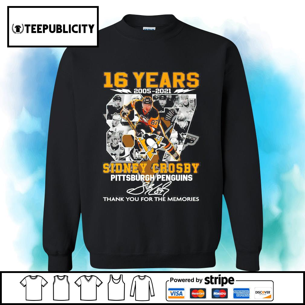 16 years 2005 2021 87 Sidney Crosby Pittsburgh Penguins signature thank you for the memories s sweater