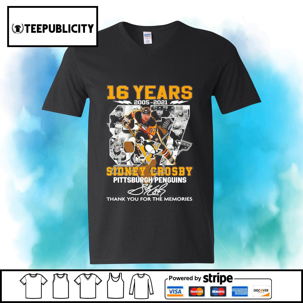 16 years 2005 2021 87 Sidney Crosby Pittsburgh Penguins signature thank you for the memories s youth-tee