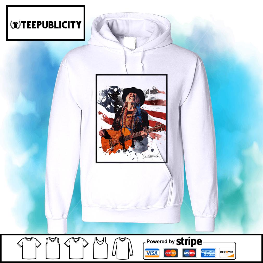 Willie Nelson American flag 4th Of July signature s hoodie