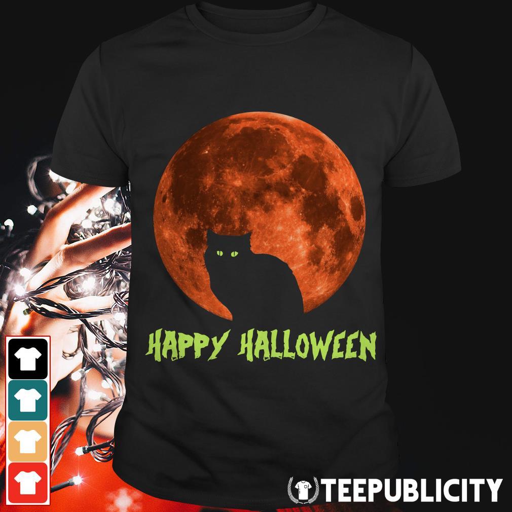 Cat in moon happy Halloween shirt