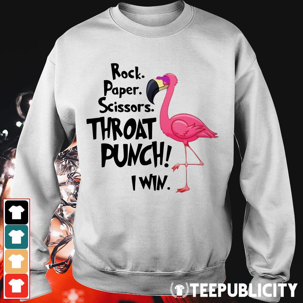 Flamingo rock paper scissors throat punch I win Sweater