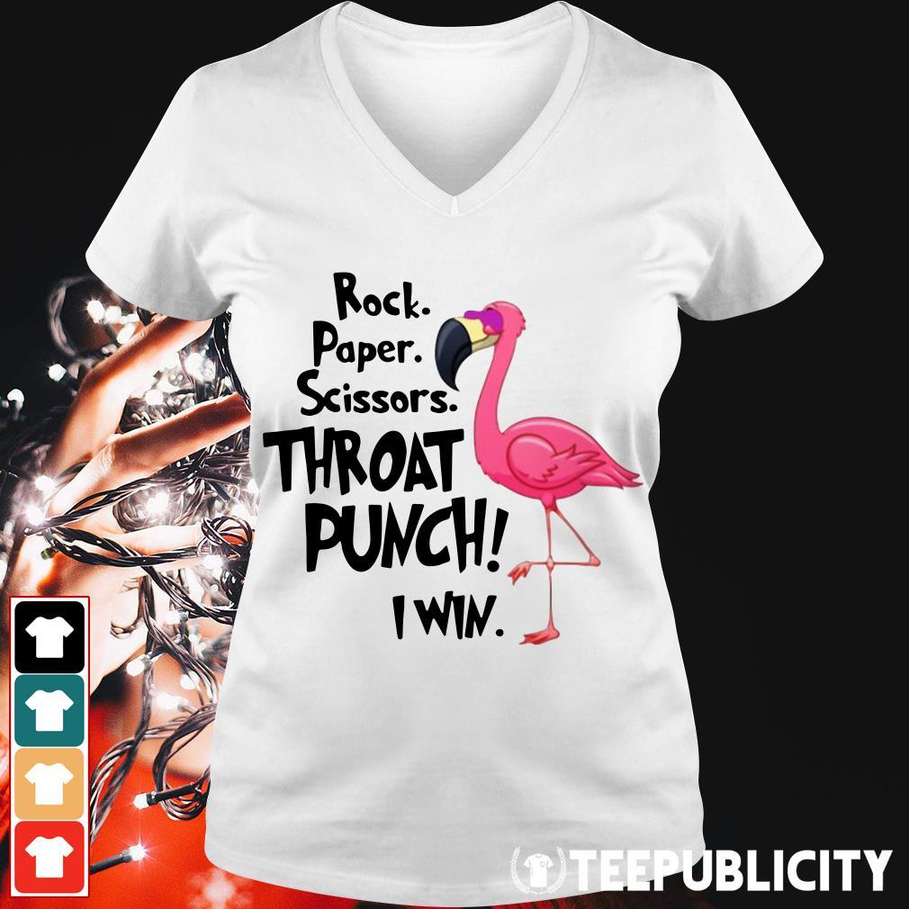 Flamingo rock paper scissors throat punch I win V-neck T-shirt