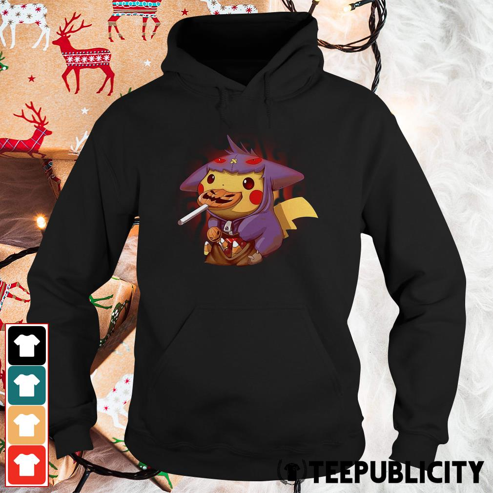 Halloween Pikachu in a Gengar Pokemon Hoodie
