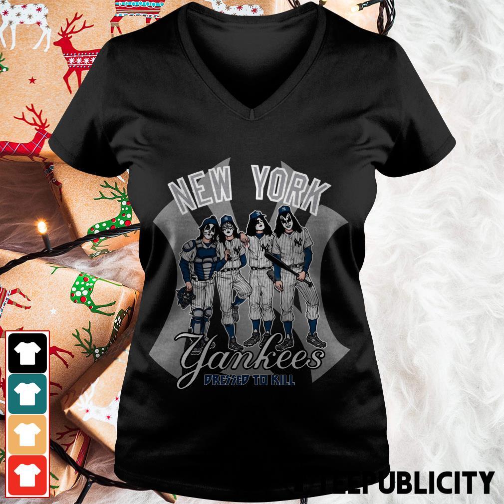 Kiss New York Yankees dressed to kill V-neck T-shirt