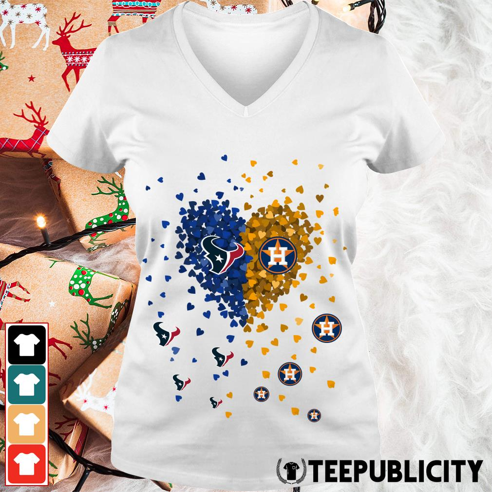 Love Houston Texans Houston Astros heart V-neck T-shirt