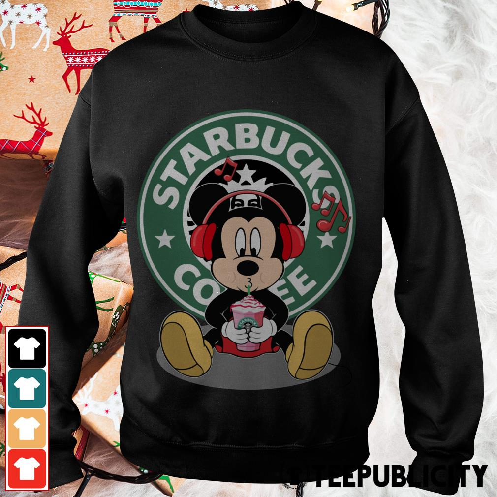 Mickey listening to music drink Starbucks coffee Sweater