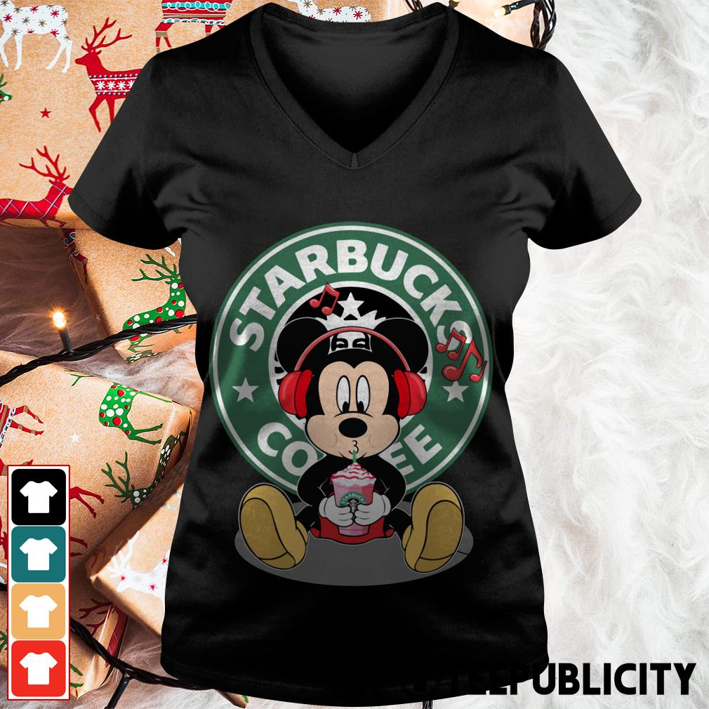 Mickey listening to music drink Starbucks coffee V-neck T-shirt