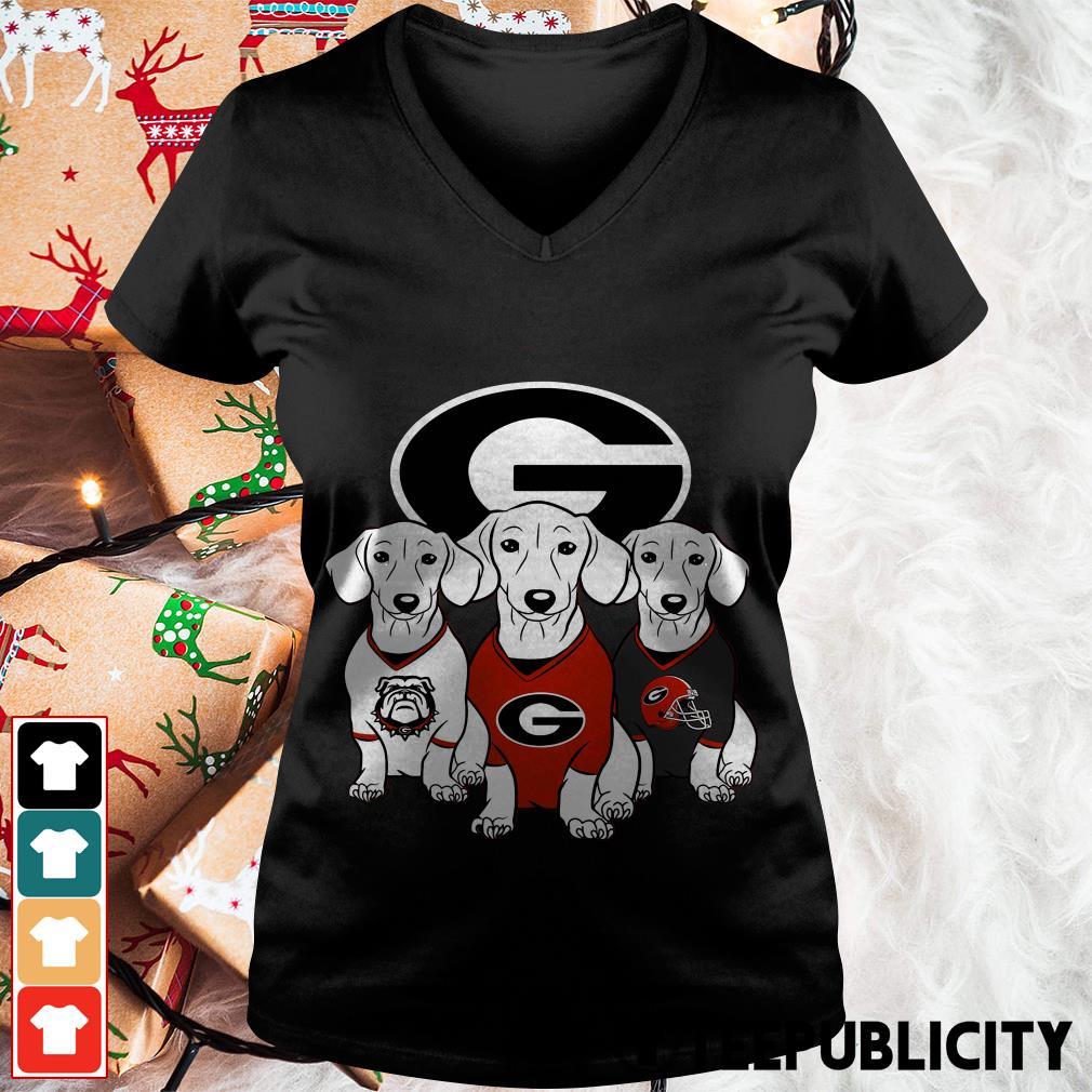 Official Dachshund Georgia Bulldogs V-neck T-shirt