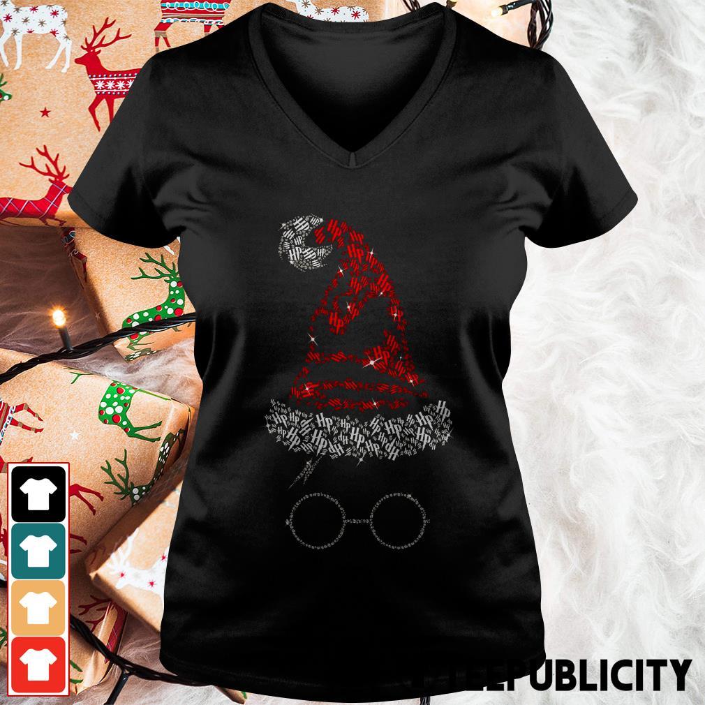 Harry Glasses Santa hat Christmas V-neck T-shirt