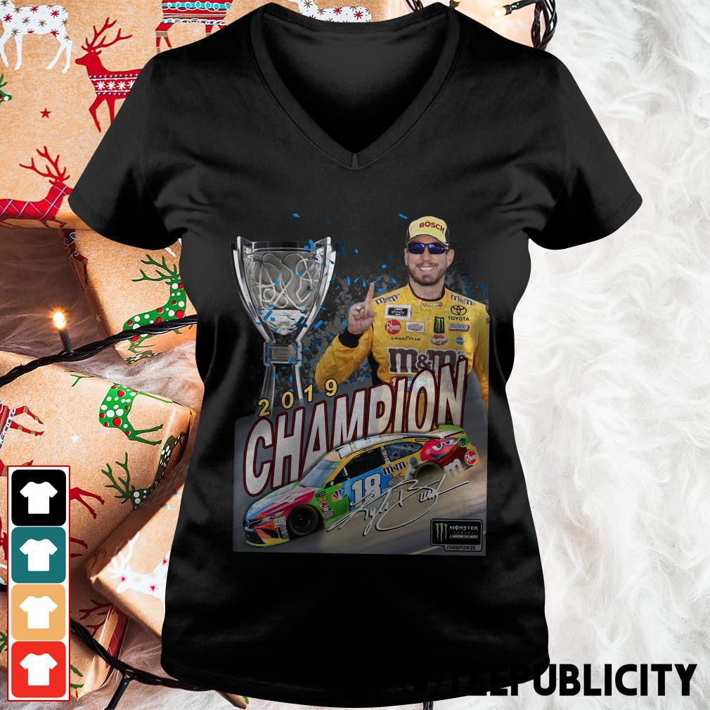 Kyle Busch 2019 Champion Signature V-neck T-shirt