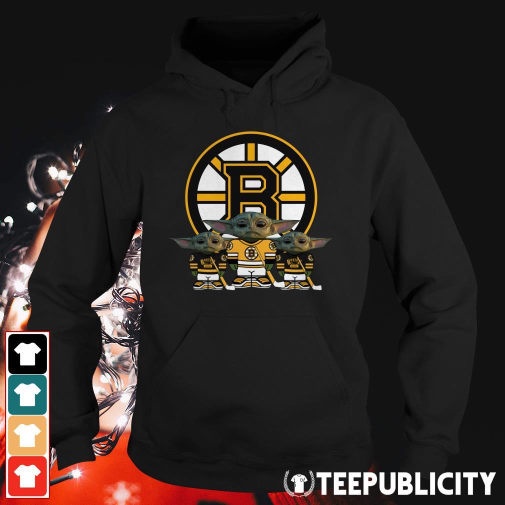 Official Boston Bruins logo baby Yoda Hoodie