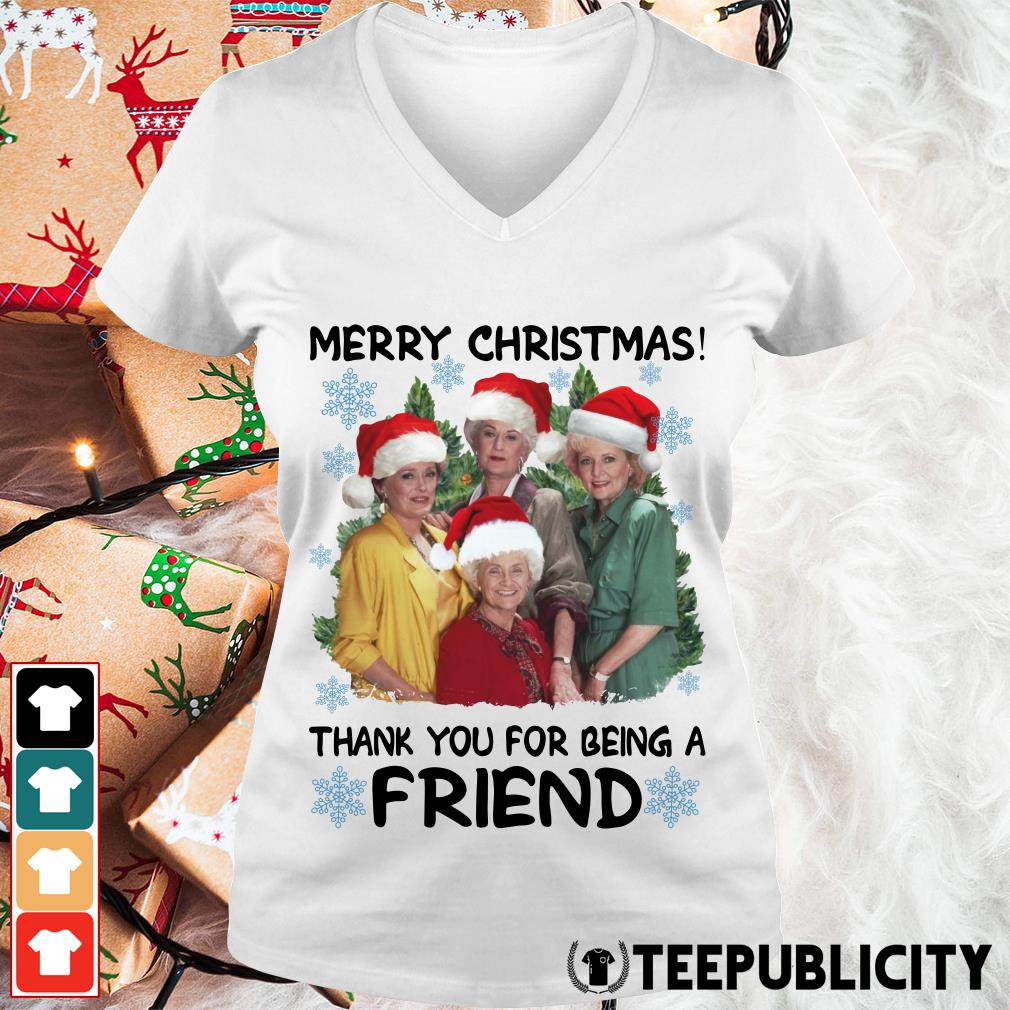 Official Golden girl merry Christmas thank you for being a friend Christmas V-neck T-shirt