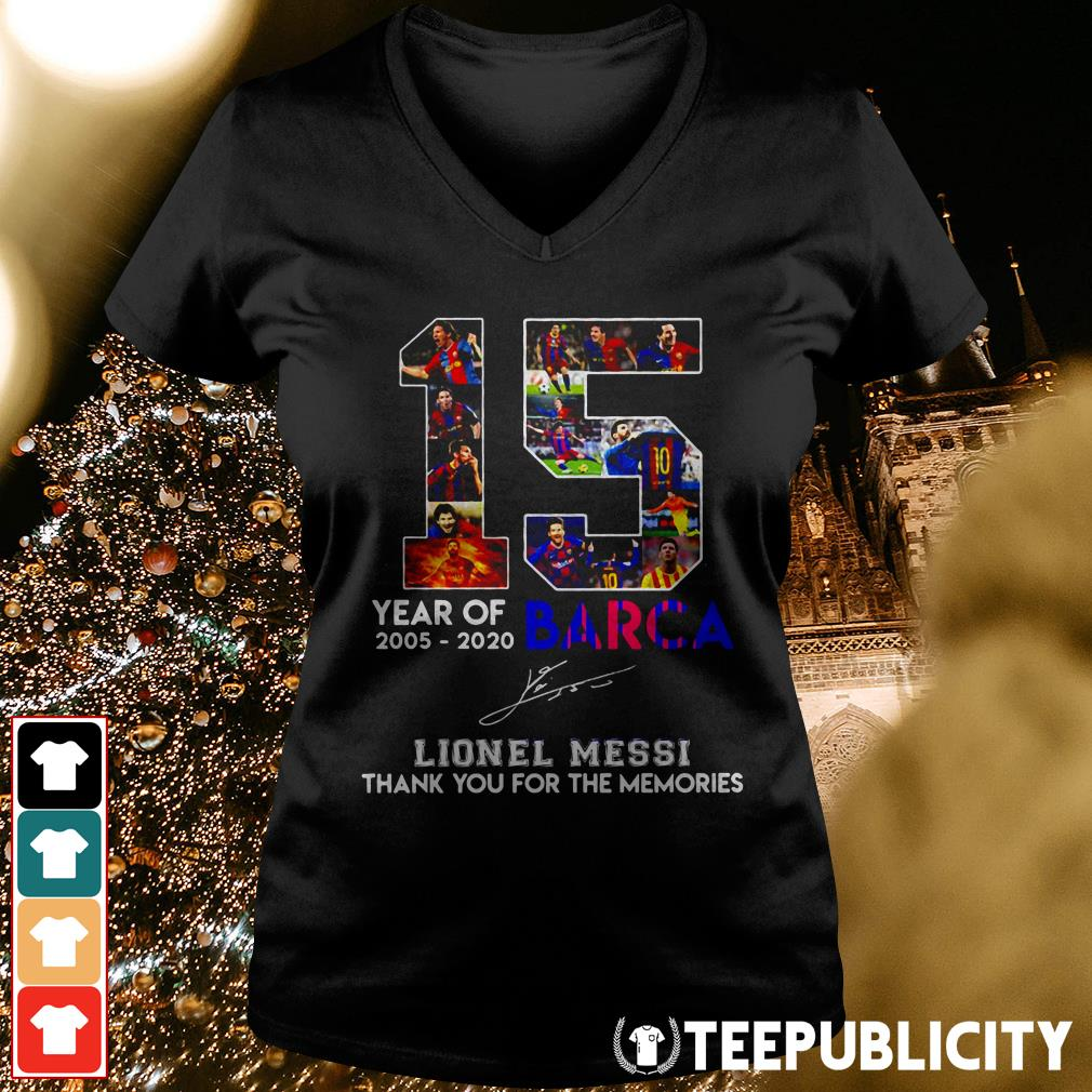 Official 15 year of 2005 2020 Barca Lionel Messi thank you for the memories V-neck T-shirt