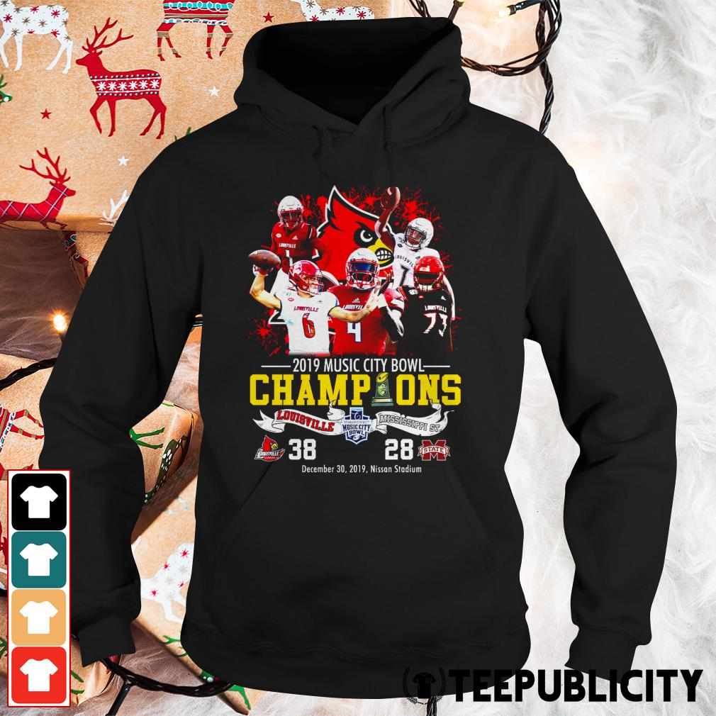 Official Louisville Cardinals 2019 music city bowl Champions Louisville and Mississippi St. Hoodie