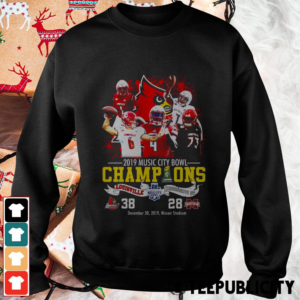 Official Louisville Cardinals 2019 music city bowl Champions Louisville and Mississippi St. Sweater