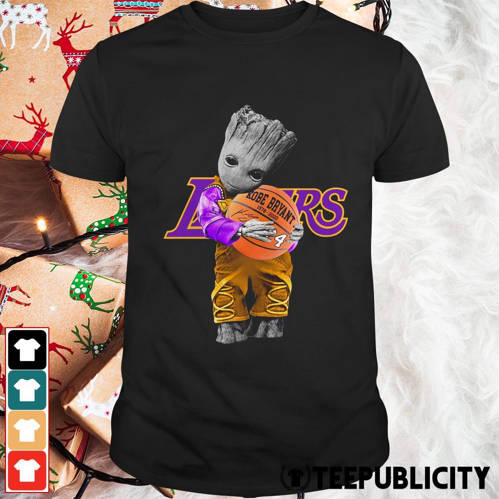 Baby Groot Lakers hug Kobe Bryant basketball signature shirt