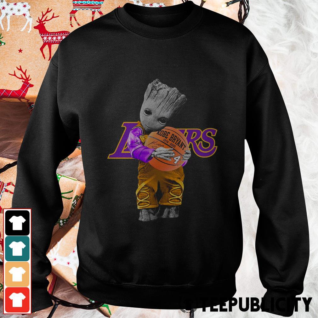 Baby Groot Lakers hug Kobe Bryant basketball signature Sweater