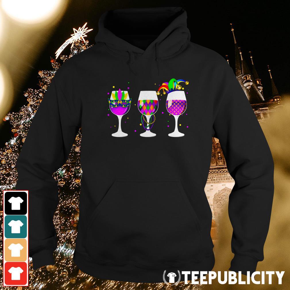 Mardi Gras glass of wine Hoodie