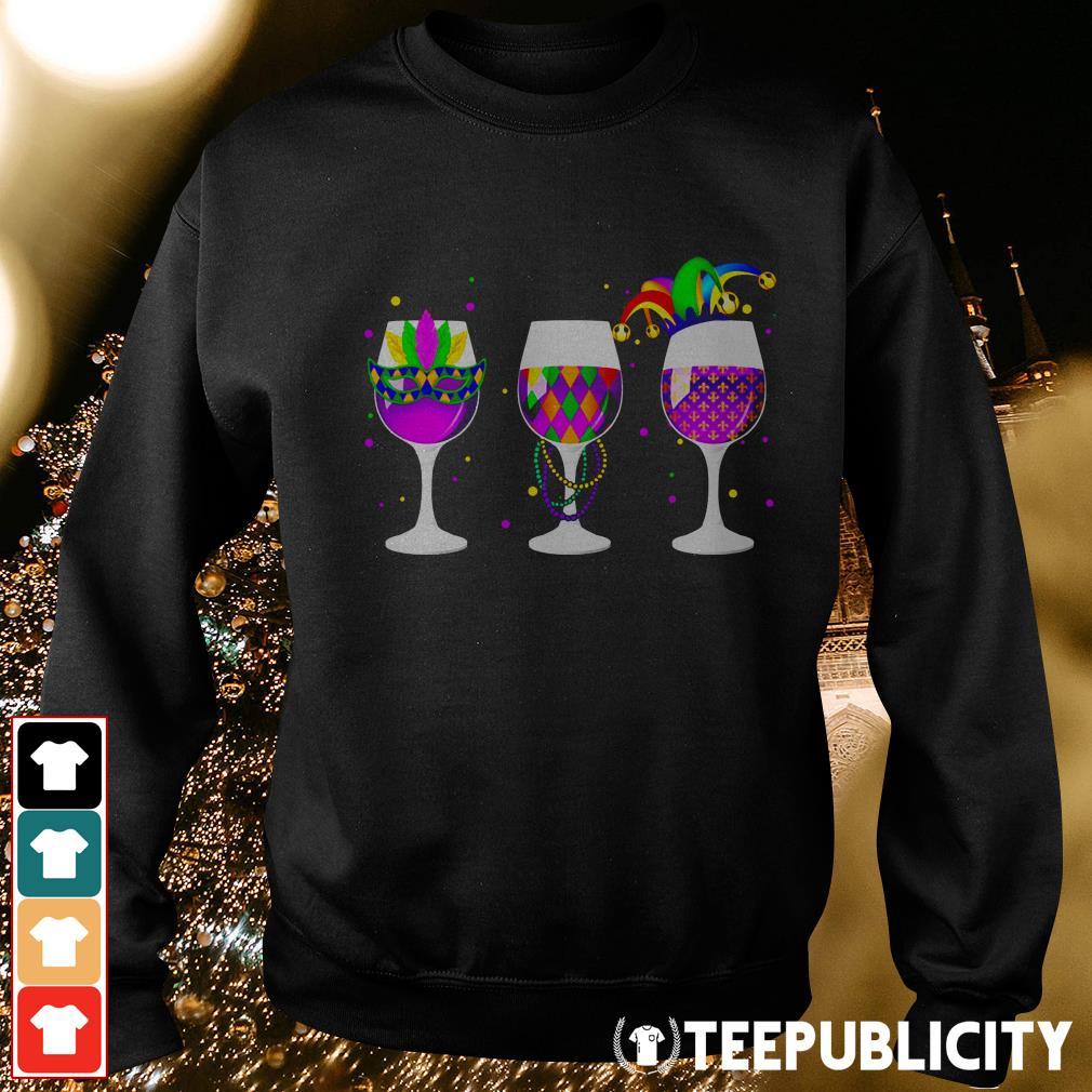 Mardi Gras glass of wine Sweater