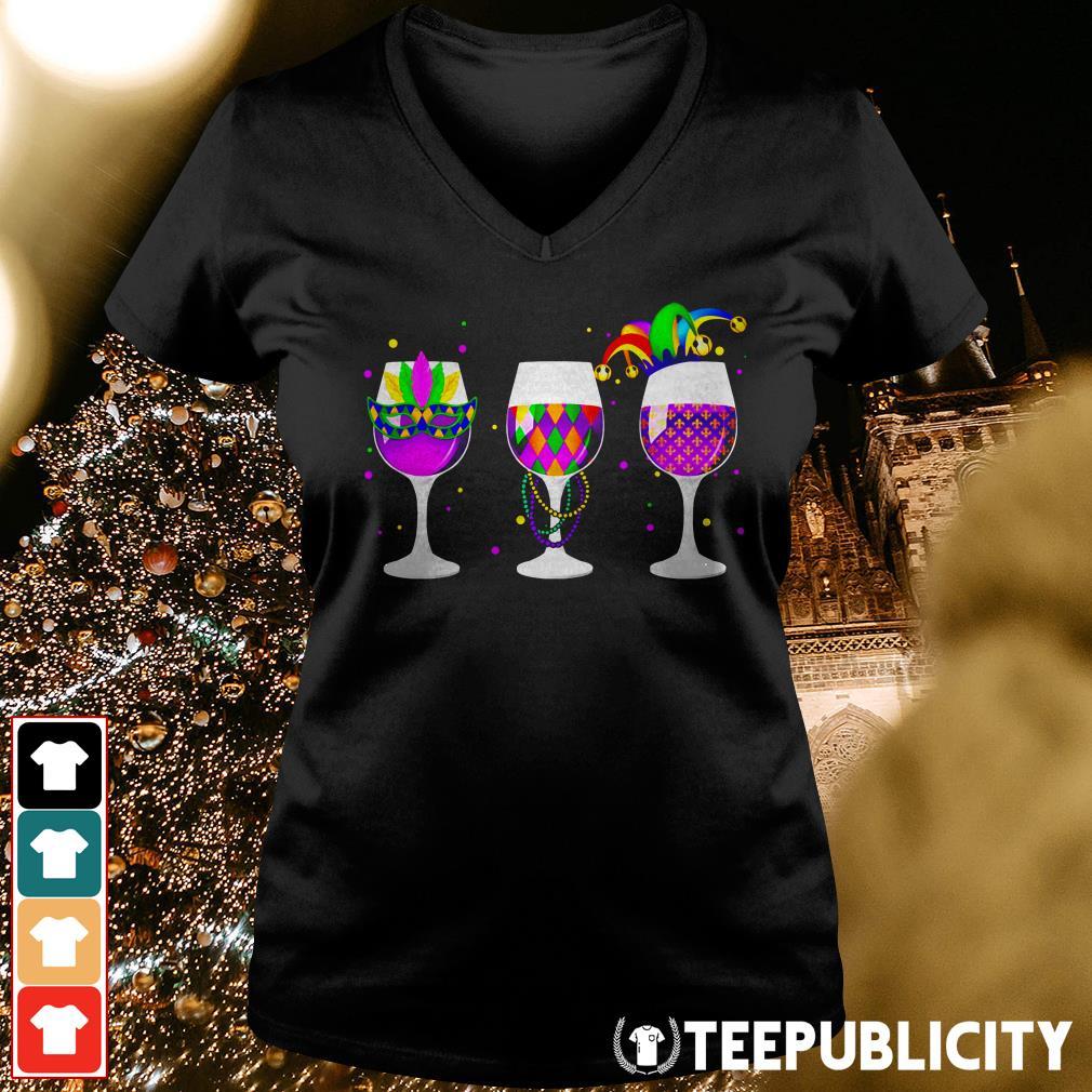 Mardi Gras glass of wine V-neck T-shirt