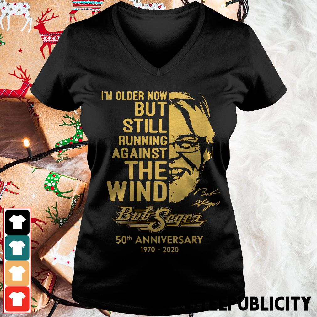 Official I'm older now but still running against the wind Bob Seger 50th anniversary 1970 2020 V-neck T-shirt