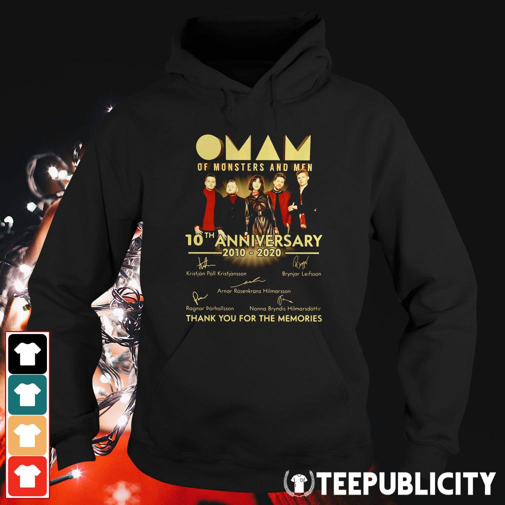 Official Oman of monsters and men 10th anniversary 2010 2020 thank you for the memories signatures Hoodie