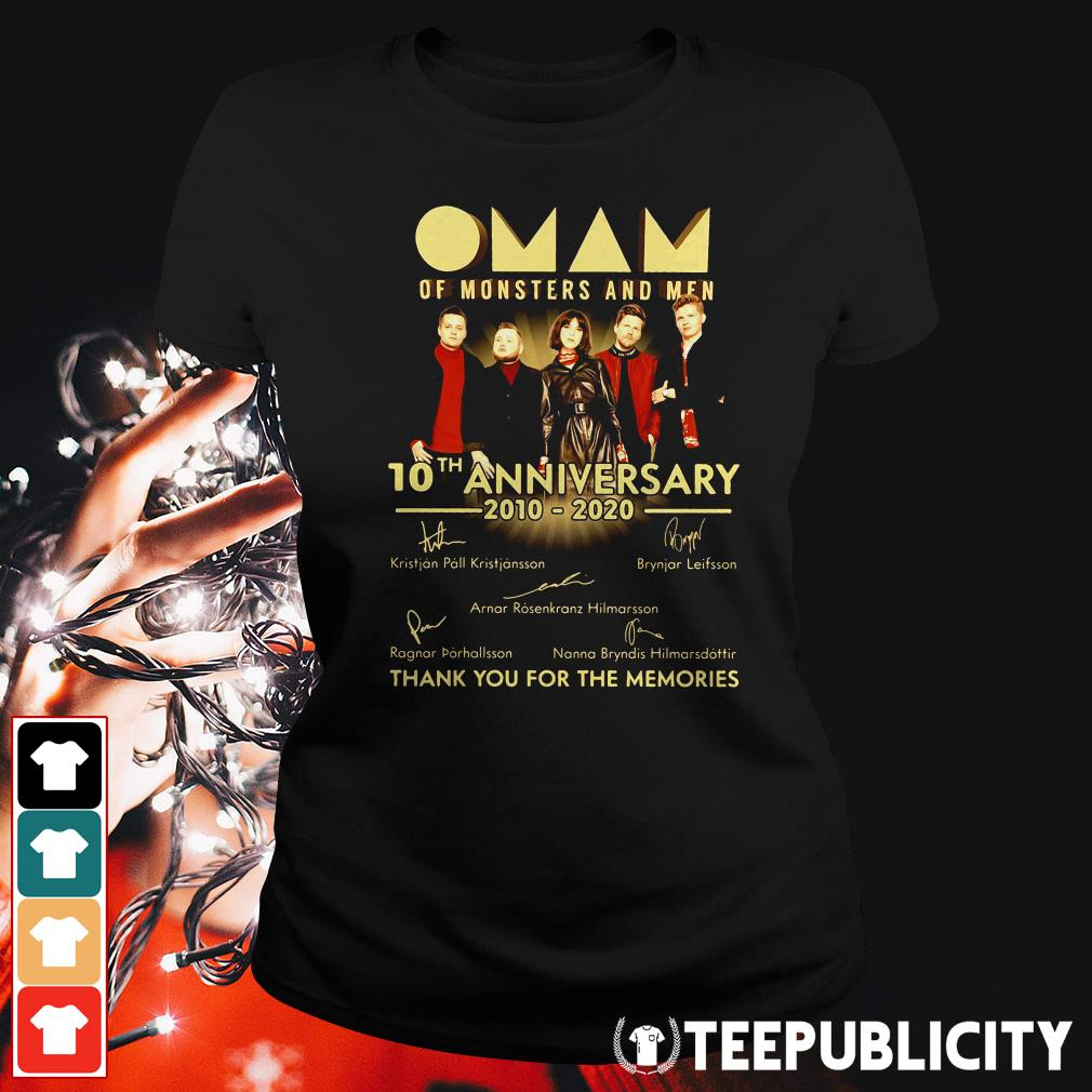 Official Oman of monsters and men 10th anniversary 2010 2020 thank you for the memories signatures Ladies Tee