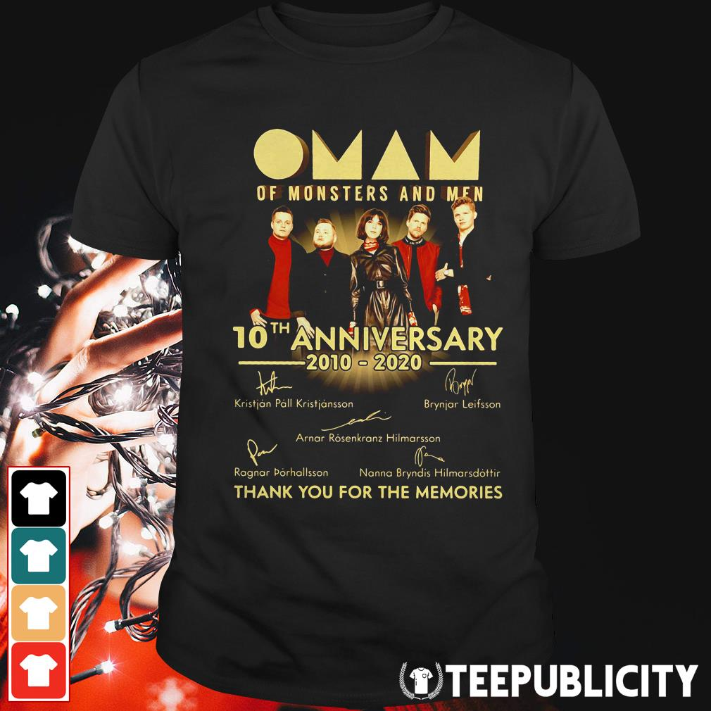 Official Oman of monsters and men 10th anniversary 2010 2020 thank you for the memories signatures shirt