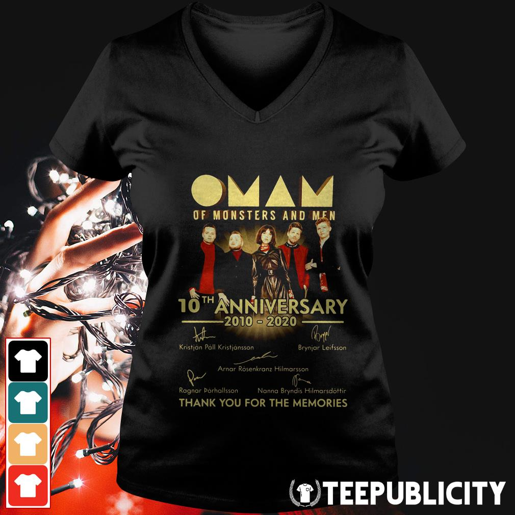 Official Oman of monsters and men 10th anniversary 2010 2020 thank you for the memories signatures V-neck T-shirt