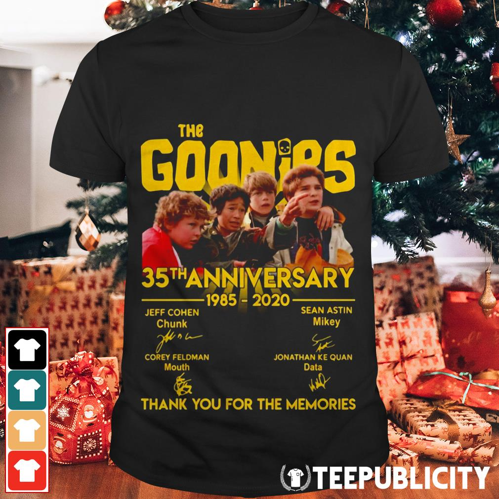 The Goonies 35th anniversary 1985-2020 thank you for the memories shirt