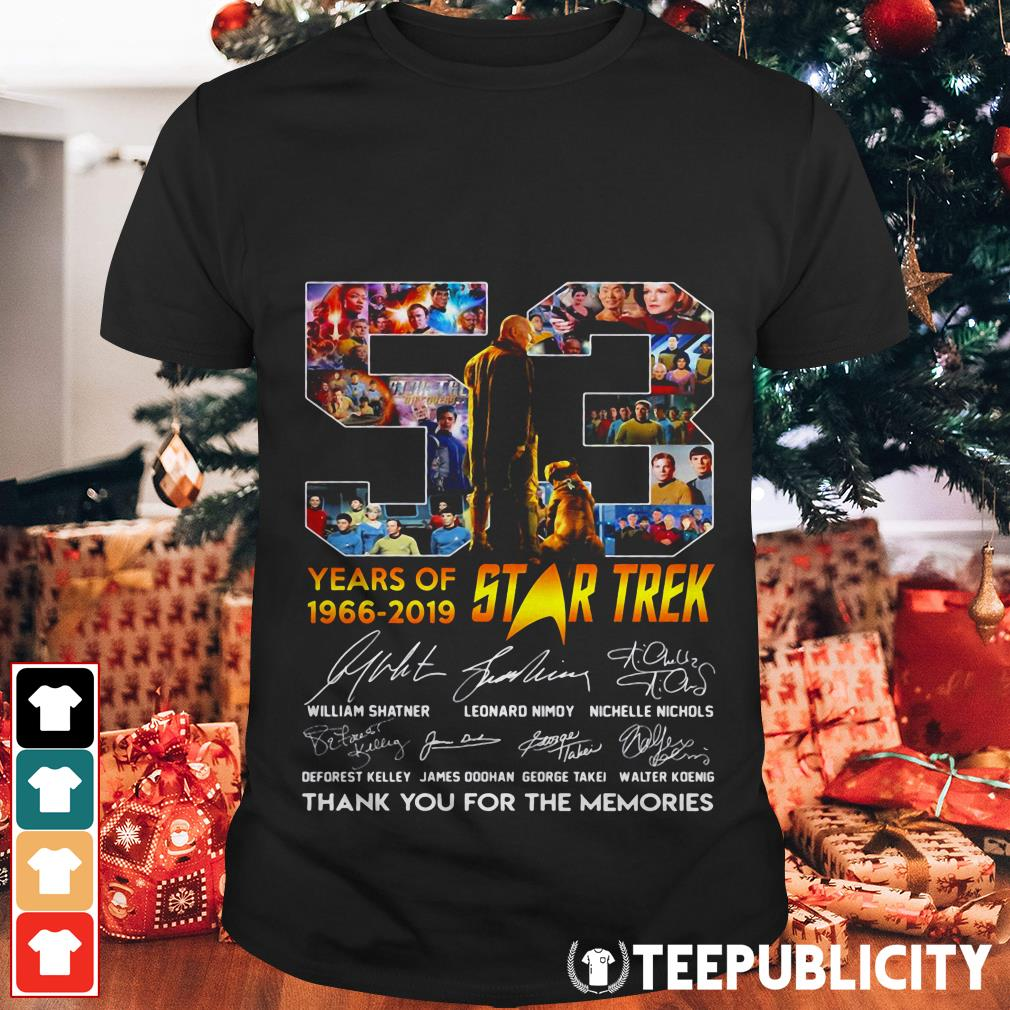 53 years of Star Trek 1966-2019 thank you for the memories shirt