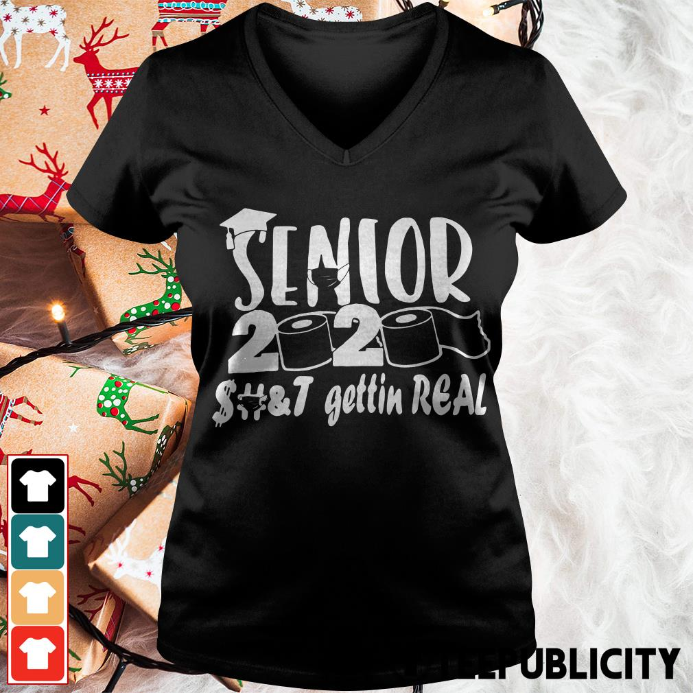 [BUY NOW] Toilet paper senior 2020 shit getting real funny V-neck T-shirt