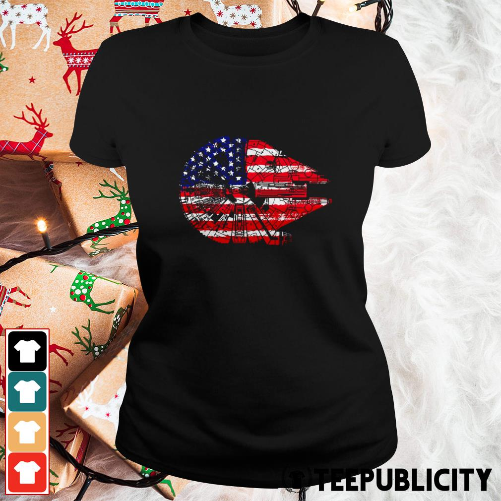 4th of July Millennium Falcon American flag Ladies Tee