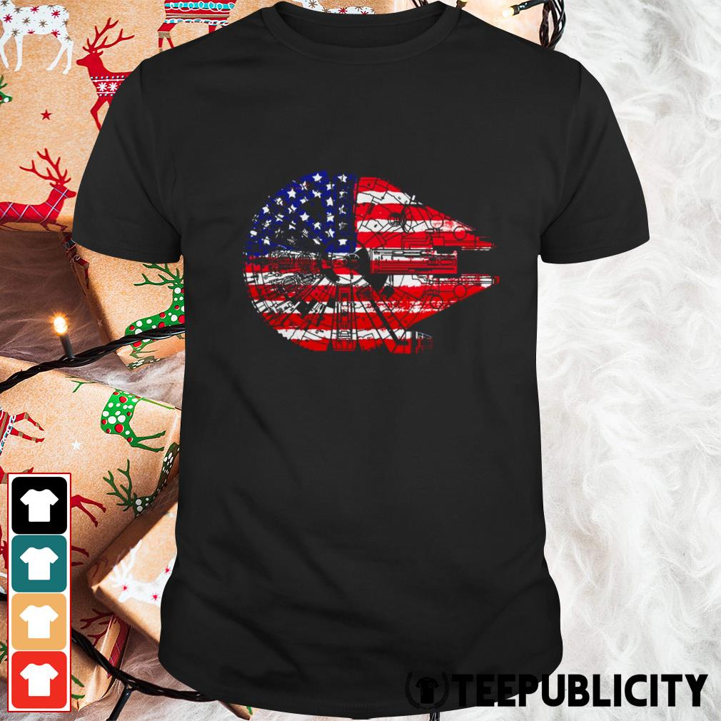 4th of July Millennium Falcon American flag shirt