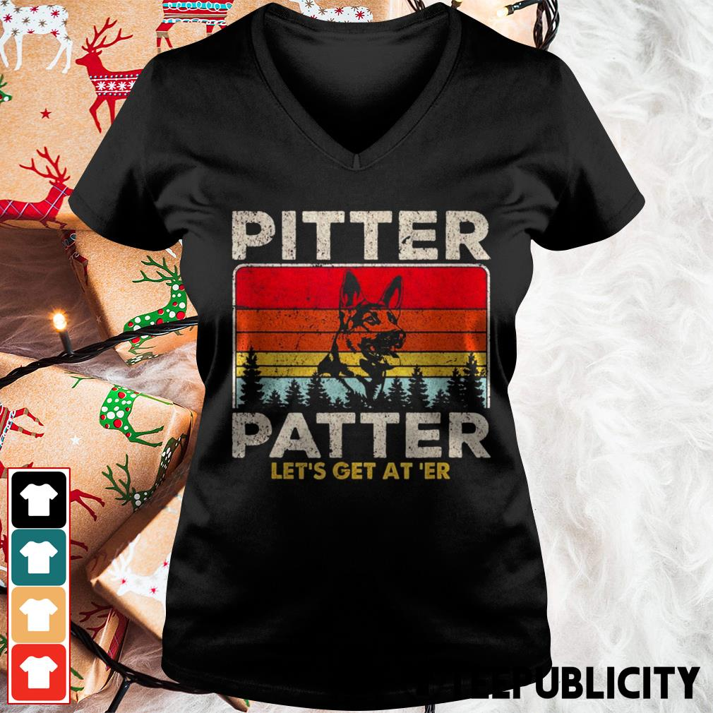 German Shepherd pitter patter let's get at' er vintage V-neck T-shirt