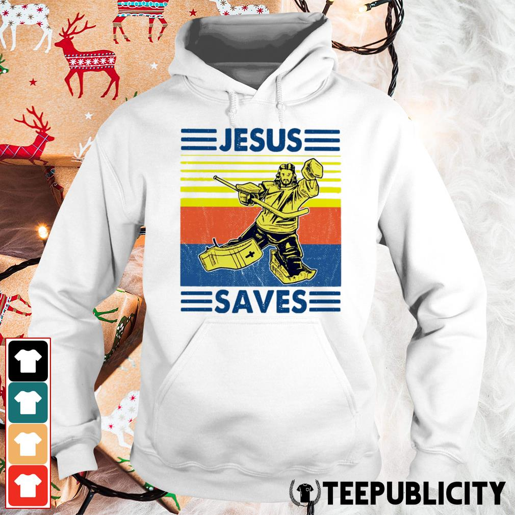Hockey Jesus saves vintage Hoodie