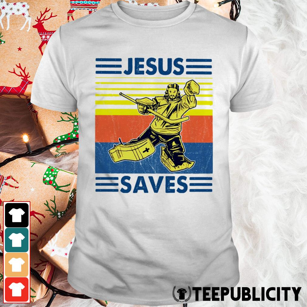 Hockey Jesus saves vintage shirt