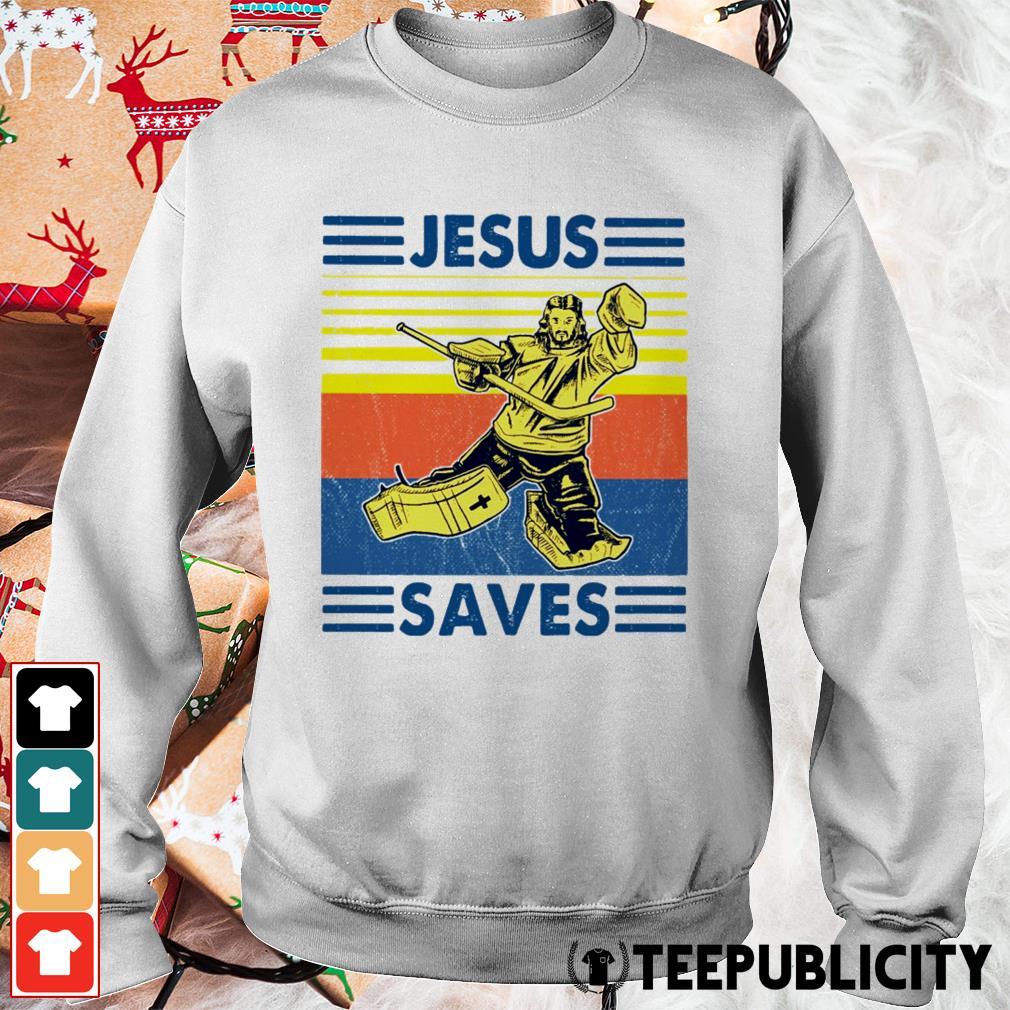 Hockey Jesus saves vintage Sweater