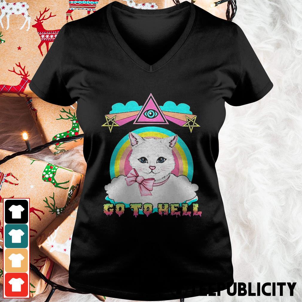 White cat go to hell V-neck T-shirt