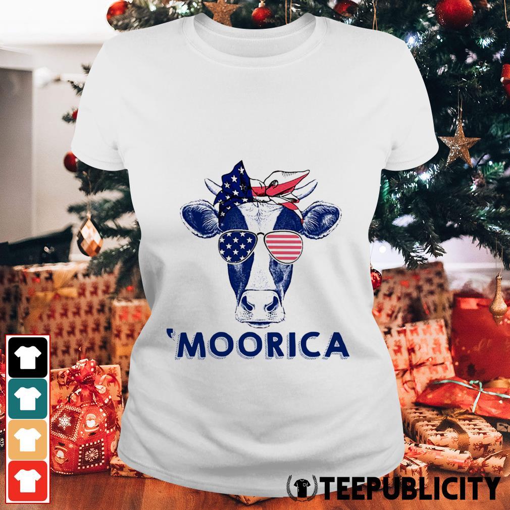 4th of July Cow 'Moorica Ladies Tee