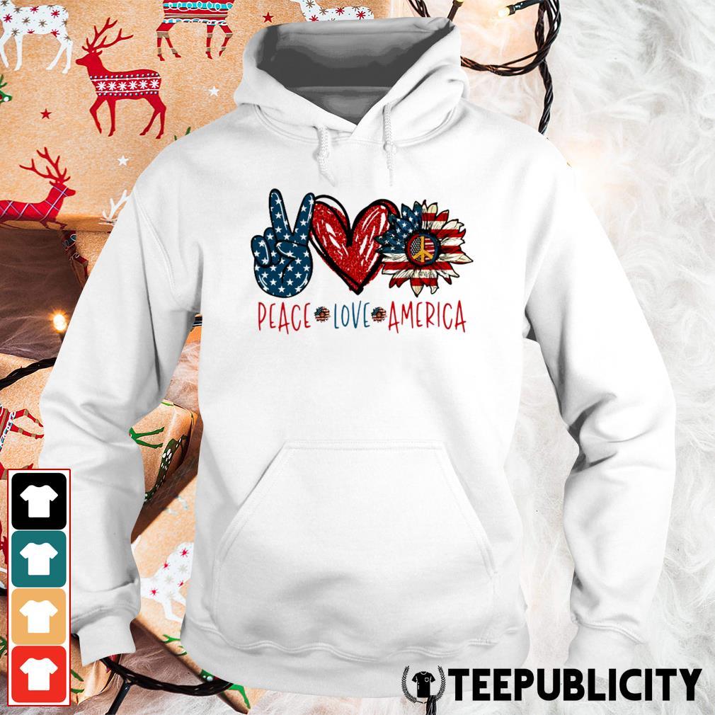Peace Love Sunflower Cross American Flag Veteran Independence Day Hoodie