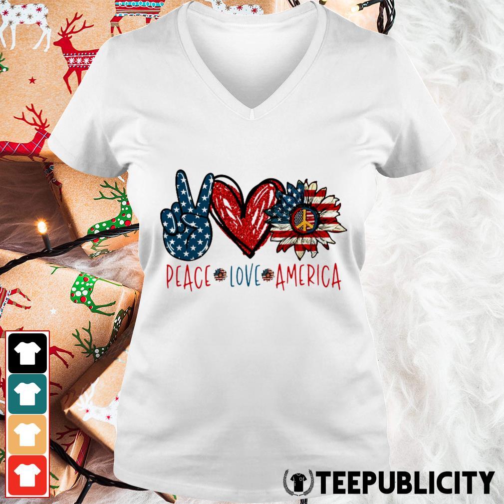 Peace Love Sunflower Cross American Flag Veteran Independence Day V-neck T-shirt