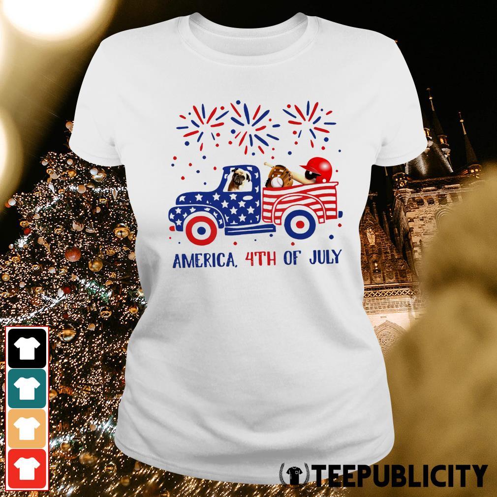 Pug ride truck America 4th of July Ladies Tee