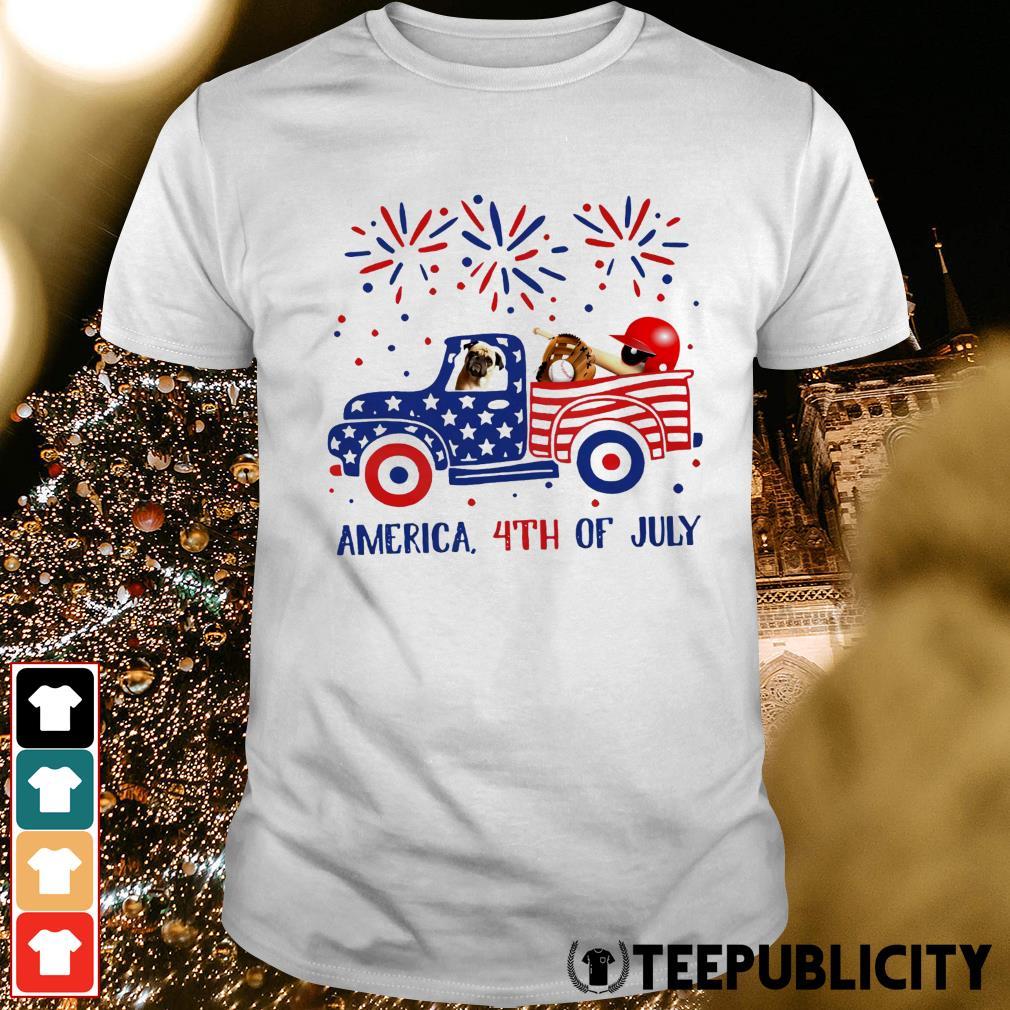 Pug ride truck America 4th of July shirt