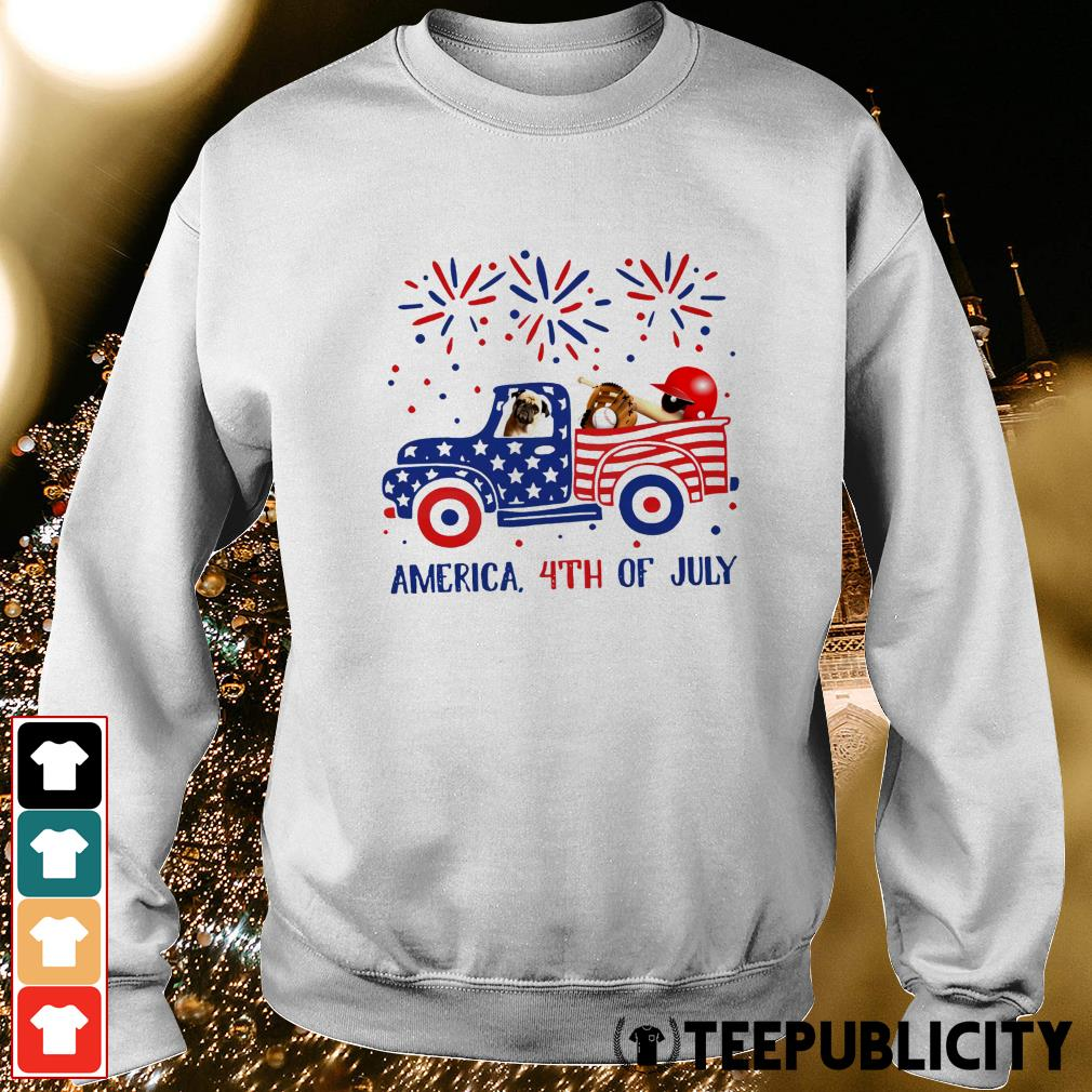 Pug ride truck America 4th of July Sweater