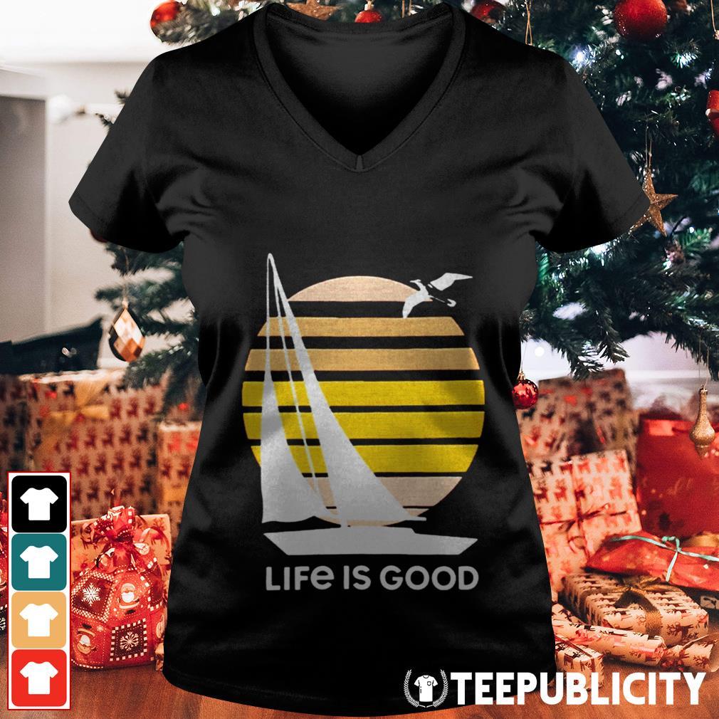 Seas The Day Textured Slub Life Is Good V-neck T-shirt