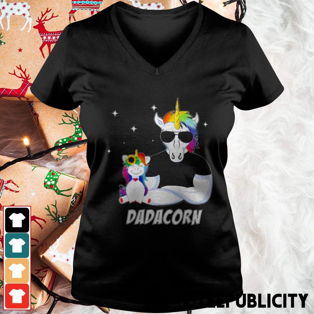 Unicorn Dadacorn dad Father's day V-neck T-shirt